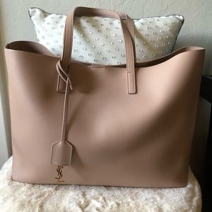 f4299c49f351 Yves Saint Laurent Large Leather Shopping Tote